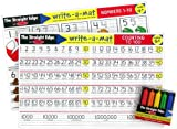 Math Problems I Write-a-Mat w/ Crayon Bundle for Ages 4 to 5: Numbers 1 to 10, & Counting to 100 - The Straight Edge Series