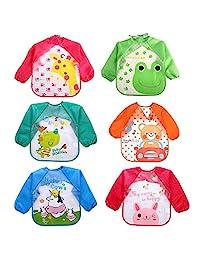 Baby Apron Bib with Sleeves6PCS Assorted Styles Cute Cartoon Waterproof EVA Baby Feeding Clothing Infant Smock Apron Bibs