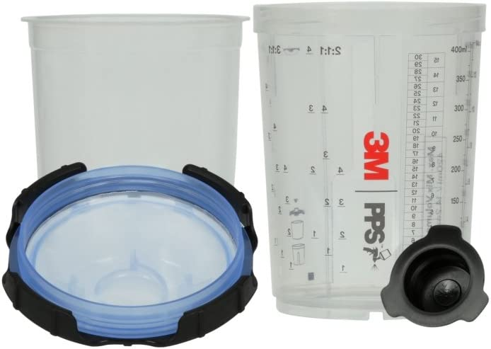 3M 26312 Spray Cup System Kit, Midi (13.5 fl oz, 400 mL), 125u Micron Filter