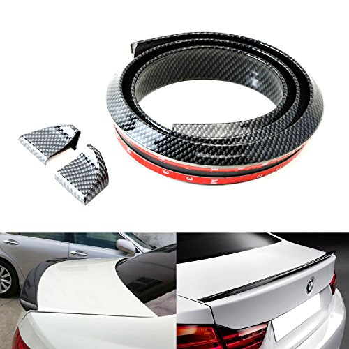 iJDMTOY (1) Universal PU Trunk or Roof Lip Spoiler or Roof Spoiler Body Kit Trim Sticker, 4.5ft (145cm/1.4m), Carbon Fiber Pattern