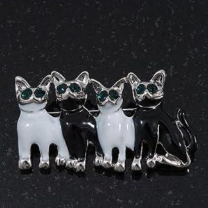 Avalaya Broche Familia Feliz de Cuatro Gatos con Esmalte Blanco/Negro en platinado de rodio: Amazon.es: Joyería