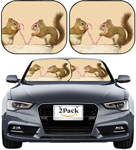 MSD Car Sun Shade Windshield Sunshade Universal Fit 2 Pack, Block Sun Glare, UV and Heat, Protect Car Interior, Image ID: Young Squirrels Holding Candy Canes and Looking Happy While Perched on a birc