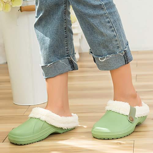 ⭐ Futurelove ⭐ Unisex Clog Slippers Fluffy Fleece Lined Winter Indoor Outdoor Non-Slip House Home Slip on Garden Shoes Anti-Slip Adult Slippers Women Men Waterproof Household Slippers