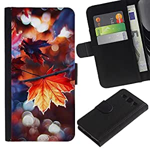 SAMSUNG Galaxy S3 III / i9300 / i747 Modelo colorido cuero carpeta tirón caso cubierta piel Holster Funda protección - Rain Autumn Sun Tree Nature