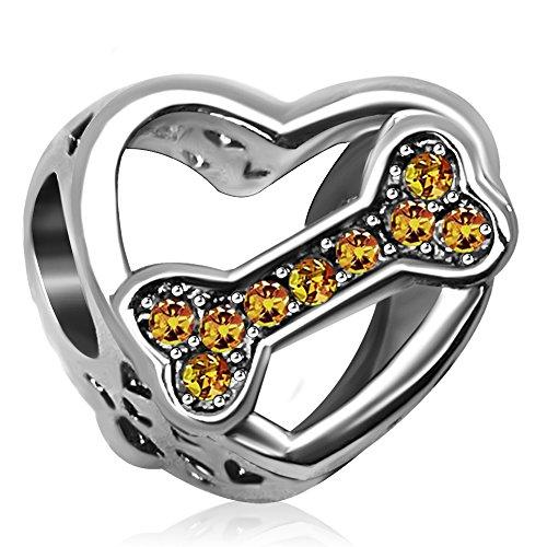 JMQJewelry Heart Love Dog November Bone Charms Beads For Bracelets Sister