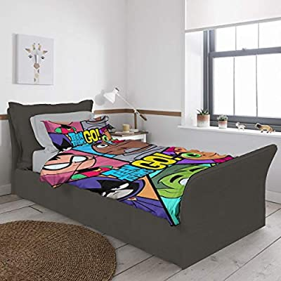 Te-en Ti-Tans Go Quilt Cover Twin Bed Quilt Cover, Suitable for Children Black 55