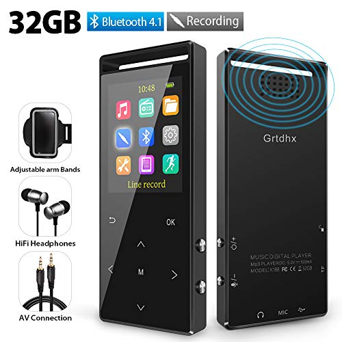 MP3 Player, 32GB MP3 Player with Bluetooth, Hi-Fi Lossless Sound Music Player with FM Radio, Voice Recorder, Pedometer, Expandable up to 128GB TF Card, with Armband and Earphone, Black