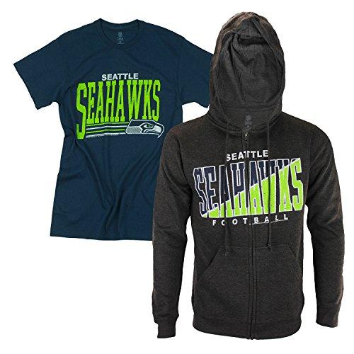 ahawks Men's Full Zip Hoodie and T-Shirt Combo #1 ()