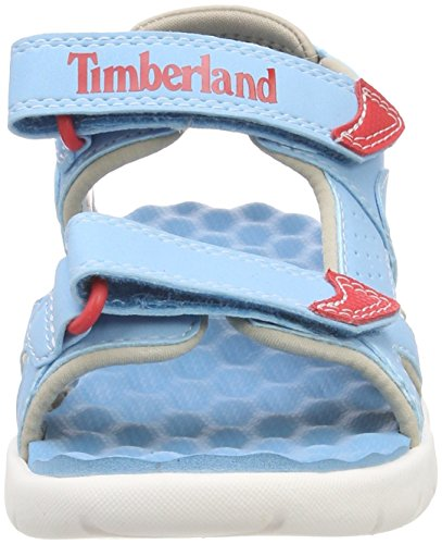 Timberland Unisex-Kinder Perkins Row 2-Strap Pantoletten Blau (Lite Blue K33)