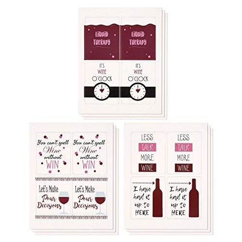 (Wine Stickers - 36-Pack Liquid Therapy Wine Bottle Labels Great for Birthdays, Weddings, Bachelorette Parties - Funny Puns in 6 Assorted Designs, 3.5 x 4.3 Inches)