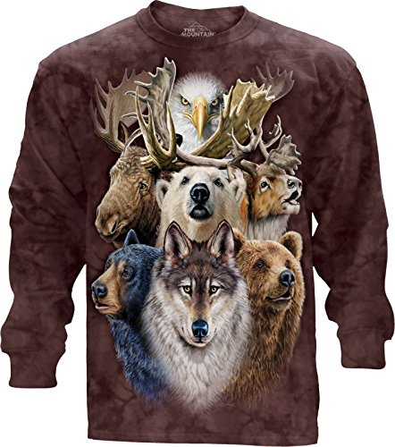 The Mountain Northern Wildlf Col-Ls 2Xl Adult Long Sleeve T-Shirt, Brown, 2XL