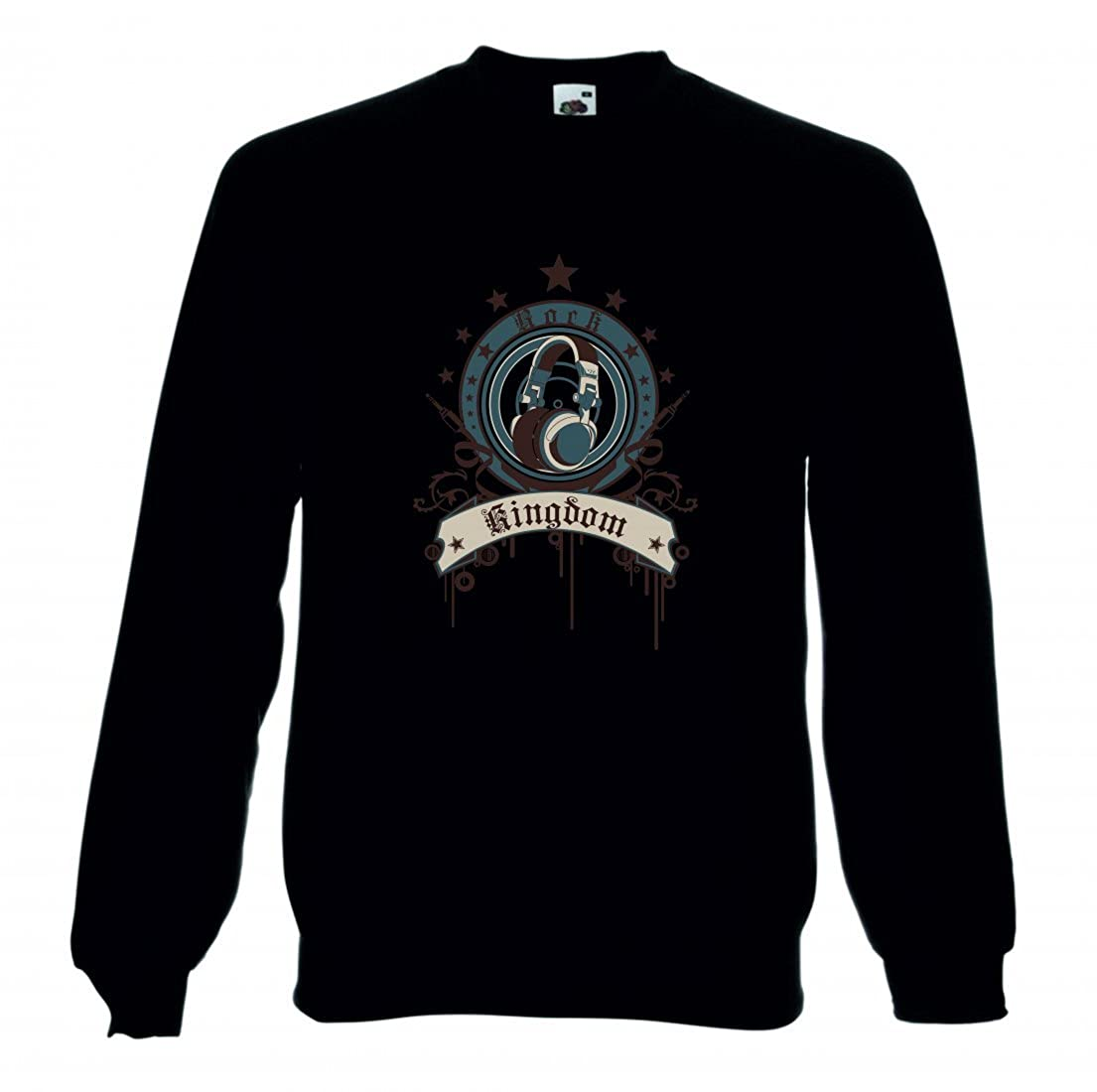 Damen Sweatshirt Rock Kingdom Music Rock n Roll Rocker Bike Auto Reise Travel Palmen 80er 90er f/ür Herren Kinder