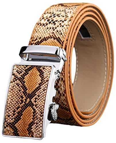 Ayli Men's Genuine Leather Ratchet Belt, Snake Skin Embossed Khaki, Fits All Pant Sizes Below 42