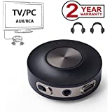 Avantree Priva III aptX LOW LATENCY Bluetooth 4.2 Audio Transmitter for TV PC (3.5mm AUX, RCA, PC USB Audio, NOT Optical) 100ft Long Range, Wireless Audio Adapter, Dual Link for Two Headphones, No Del