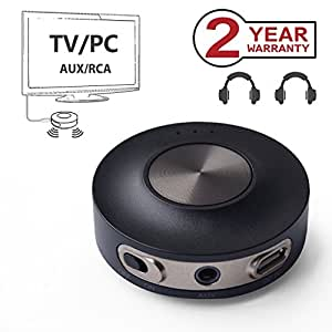 Avantree Priva III aptX Low Latency Bluetooth 4.2 Audio Transmitter for TV PC (3.5mm AUX, RCA, PC USB, No Optical) 100ft Long Range, Wireless Audio Adapter, Dual Link for Two Headphones, No Delay