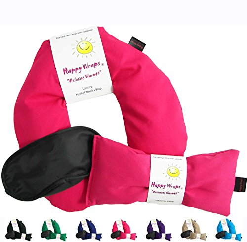 Happy Wraps Herbal Neck Wrap w/Free Lavender Eye Pillow & Free Sleep Mask - Microwave or Freeze - Pink Cotton