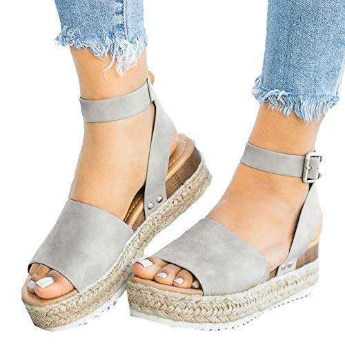 Athlefit Women's Platform Sandals Espadrille Wedge Ankle Strap Studded Open Toe Sandals Size 10.5 Grey