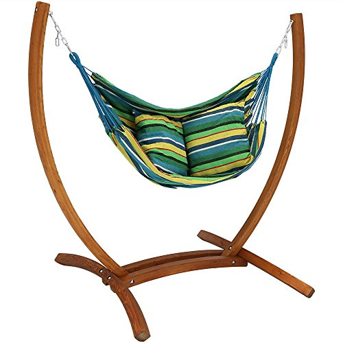 Sunnydaze Hanging Hammock Chair Swing with Sturdy Space-Saving Wooden Stand for Indoor or Outdoor Use, Ocean ()