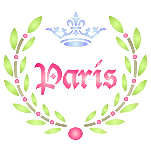 Paris Laurel Stencil - 6.5 x 6 inch (M) - Reusable Vintage French Themed Word Wall Stencils for Painting - Use on Paper Projects Scrapbook Journal Walls Floors Fabric Furniture (Boy French Borders)