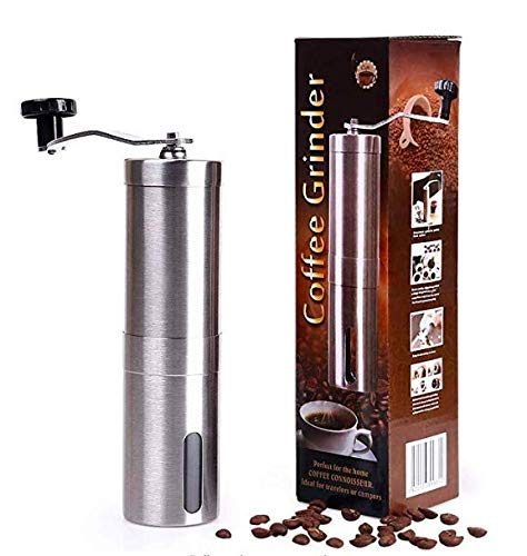 r- Hand Conical Coffee Bean Grinder With Ceramic Mechanism by MORICAI - Portable Stainless Steel Burr Coffee Mill With Folding Stainless Steel Handle ()