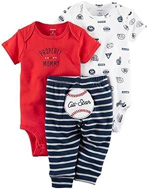 Carters Baby Boys 3 Piece Take Me Away Set (Baseball)