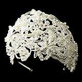 Katerina Ivory Russian Tulle Cap Headband of Pearls & Rhinestones Wedding Bridal Tiara Headband