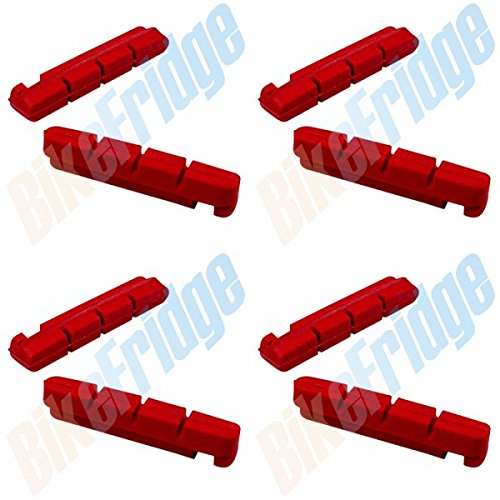 - 4 Pairs Red Insert Road Brake Pads for Shimano Dura-Ace Ultegra 105, DiscoB Race