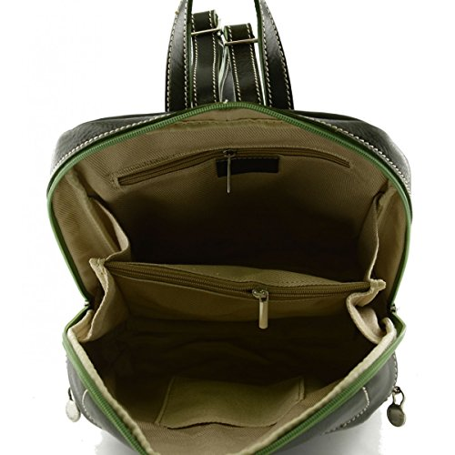 Zaino In Pelle Vera Con Tasche Frontali Colore Verde - Pelletteria Toscana Made In Italy - Zaino