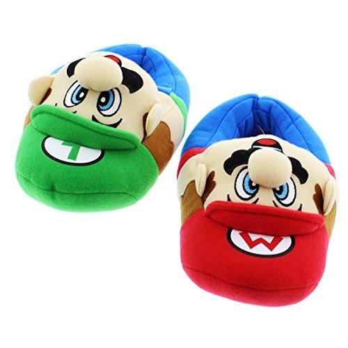Super Mario Brothers Boys Plush Slippers (Small Fits Shoe Size 11-12, Mario Luigi Blue) (Mario Plush Slippers)