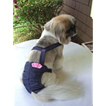 "Joybies Durable Denim Piddle Pants(tm) for Medium Female Dog (Measuring 15""-17"" From Collar to Base of Tail)"