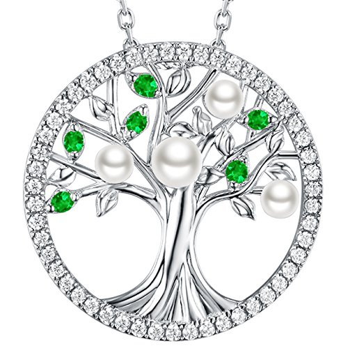 White Pearl Green Emerald Jewelry Tree of Life Pendant Necklace for Women Teen Girls Love Family Birthday Gifts Sterling - Pearl Green White