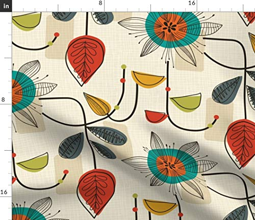 Spoonflower MCM Fabric - 1950'S Mid Century Modern Retro Home Decor Vintage Classy 1950S Floral Linework Print on Fabric by The Yard - Petal Signature Cotton for Sewing Quilting Apparel Crafts Decor (Retro Quilting Fabric)