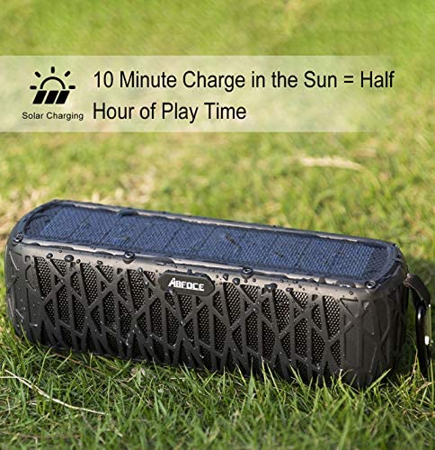 ABFOCE Solar Bluetooth Speaker Portable Outdoor Bluetooth IPX6 Waterproof Speaker with 5000mAh Power Bank,60 Hours Play Time Dual Speaker with Mic, Stereo Sound with Bass Home Wireless Speaker-Black 516adgfO1 L