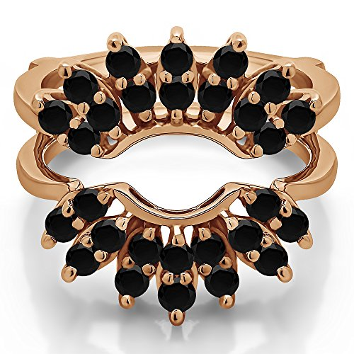 TwoBirch 10k Rose Gold Double Row Halo Sunburst Ring Guard with Black Diamonds (0.98 ct.) ()