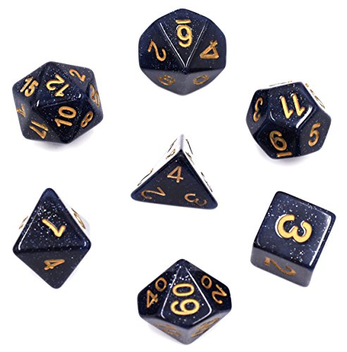 Polyhedral Dice Sets Glitter Dices for DND Dungeons & Dragons MTG RGP Role Playing Game Included Velvet Dice Pouch (Blue)