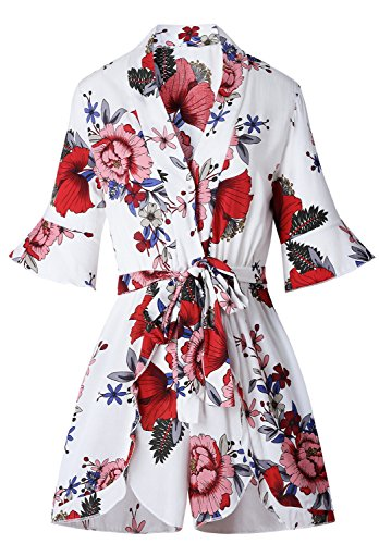 Ruffled Ruffle Hem Half Sleeve Deep V Neck Cross Wrap Front Waist Belt Belted Playsuit Romper Floral White - Half Cross