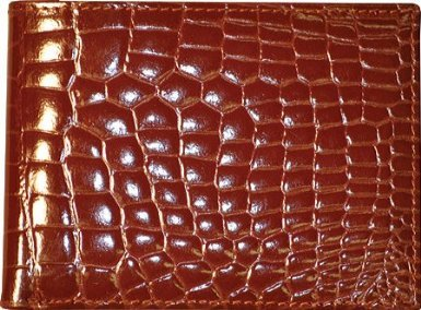 Budd Leather Crocodile Bidente Wallet with Passcase (Cognac) by Budd Leather