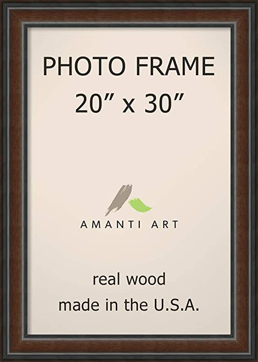 With Acrylic Front and Foam Board Backing 35x27 Brown Barnwood Picture Frame