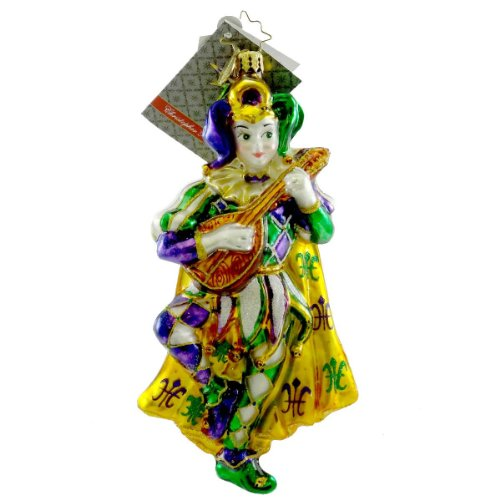 Christopher Radko DANCING FOOL Blown Glass Ornament Jester Mardi Gras