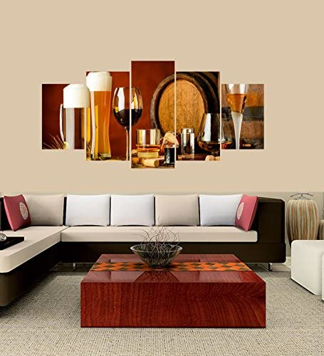 PEACOCK JEWELS Premium Quality Canvas Printed Wall Art Poster 5 Pieces 5 Pannel Wall Decor Alcoholic Drinks on Wooden Table Painting, Home Decor Pictures – with Wooden Frame