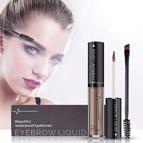 Waterproof Brow Gel- Full Natural Brows -24Hours Long Lasting Smudge-Proof Tinted Liquid Eyebrow Makeup Gels with Brush (Brown)