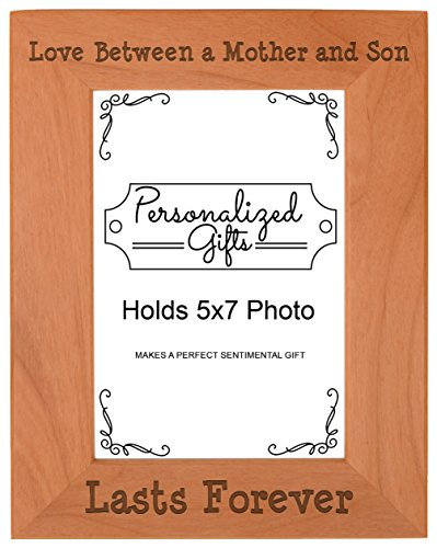 Son Portrait - First Time Mom Gifts Love Between a Mother and Son Lasts Forever Birthday Gifts Mom Natural Wood Engraved 5x7 Portrait Picture Frame Wood