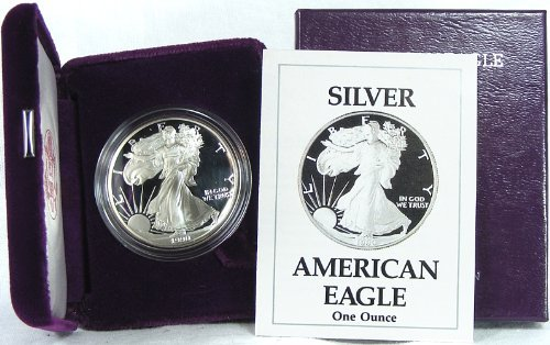 1990 Proof American Silver Eagle with Original Packaging