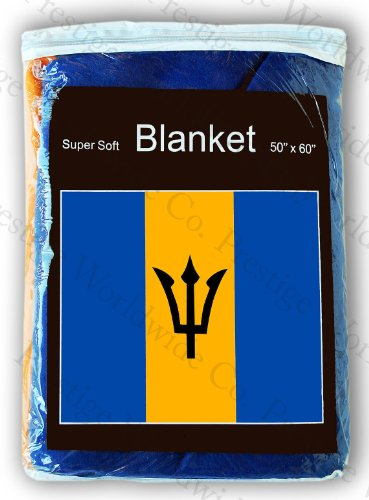 Barbados Flag Fleece Travel Blanket 5 ft. x 4.2 ft. Barbadian Throw Cover (Snuggie Flag)