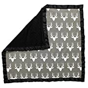 Dear Baby Gear Baby Blankets, Antlers on Grey, Black Minky, 32 Inches by 32 Inches