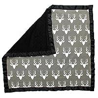 Dear Baby Gear Baby Blankets, Antlers on Grey, Black Minky