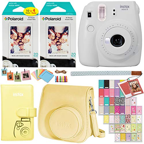 Fujifilm Instax Mini 9 Instant Camera (Smokey White), 2 x Twin Pack Instant Film (40 Sheets), Camera Case, Photo Album, Square Photo Frames & Accessory Bundle
