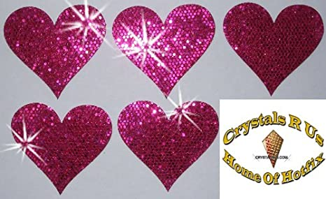 zum Aufbügeln CrystalsRus Stoff-Herzen mit Pailletten 48 Stück 20 mm