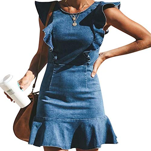 Trim Jean Skirt - MYHALF Women's Casual Round Neck Ruffle Trim Sleeveless Denim A Line Mini Dress Size L(US 4-6) (Blue)