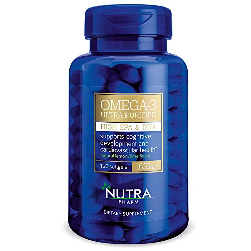 Nutra Pharm Omega-3 From Deep See Cold Water Fish 1600mg (120 Softgels 60 DAY SUPPLY ) ULTRA PURIFIED - HIGH EPA & DHA - Made in Norway **BPA FREE**NON (High In Omega)